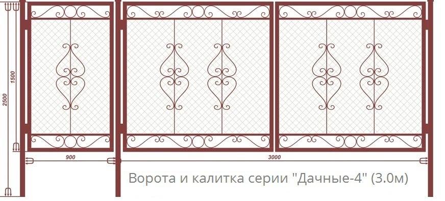 Ворота для дачного участка чертеж ворота с композита