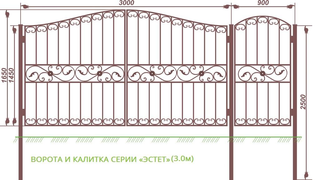 ВОРОТА И КАЛИТКА СЕРИИ «Эстет» (3 м)